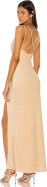 Karmin Ruched Maxi Dress in Metallic Gold. - size S (also in L,M,XS)