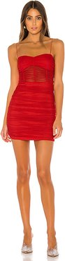 Kambella Ruched Mini Dress in Red. - size XXS (also in L,M,S,XS)