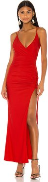 Karmin Ruched Maxi Dress in Red. - size XS (also in M,S,XL,XXS)