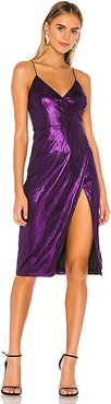 Misty Surplice Midi Dress in Purple. - size XS (also in XXS,S)
