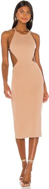 Zayne Midi Dress in Tan. - size XS (also in L,M,S,XL,XXS)