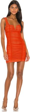 Marlene Ruched Mini Dress in Orange. - size XS (also in M)