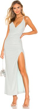 Karmin Ruched Maxi Dress in Metallic Silver. - size L (also in M,S,XL)