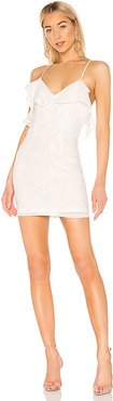 Keely Frill Mini Dress in White. - size M (also in L,S,XL)