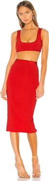 Akeela Midi Skirt Set in Red. - size L (also in M,XS)