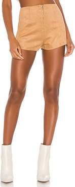 Deanna Suede Studded Short in Brown. - size L (also in XXS,XS,S,M,XL)