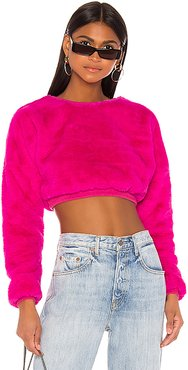 Michelle Faux Fur Top in Pink. - size M (also in XXS,XS,S,L,XL)