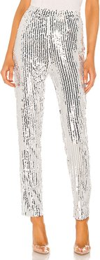 Riley Straight Leg Pant in Metallic Silver. - size S (also in L,M,XL,XS,XXS)