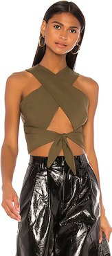 Cambria Cross Crop Top in Olive. - size XL (also in S,L)
