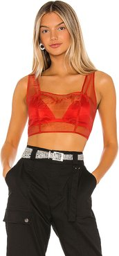 Katrina Sheer Tank Top in Red. - size XS (also in L,S)