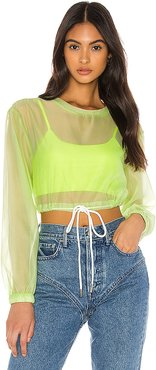 Selia Sheer Crop Top in Green. - size XS (also in S,M)