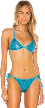 Chantell Sequin Bikini Top in Blue. - size M (also in S,XS,XXS)