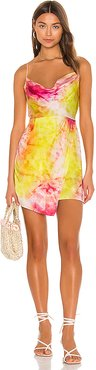 Cowl Wrap Mini Dress in Yellow. - size 2 (also in 4,6)