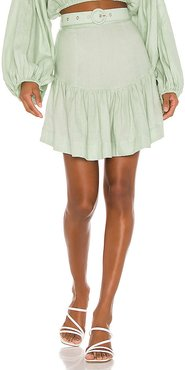 Belted Mini Skirt in Mint. - size M (also in S,XS)