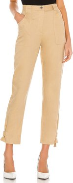 Tide Linen Twill Utilitarian Straight Leg Pant in Tan. - size L (also in M,S,XS)