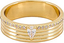 Ring with CZ Accents in Metallic Gold. - size 6 (also in 7,8)