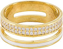Enamel Band Ring with Pave Accents in Metallic Gold. - size 6 (also in 7,8)