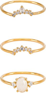 Stackable Ring Set Of Three in Metallic Gold. - size 8 (also in 6,7)