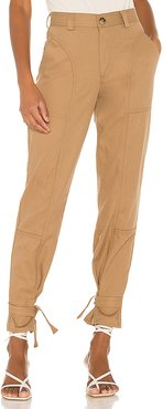 Darcy Cinched Ankle Trouser in Nude. - size 23 (also in 25,28,29,32)