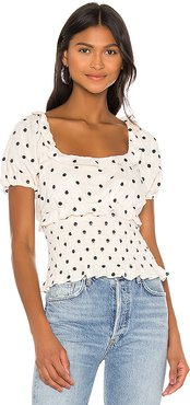 Cora Embroidered Top in Neutral. - size XS (also in L,M,S,XXS)