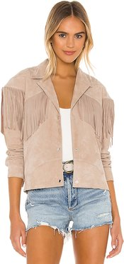 x REVOLVE Nashville Suede Coat in Taupe. - size L (also in M)