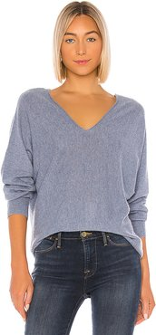 DBL V Neck Pullover Sweater in Blue. - size M (also in L,S,XS,XXS)
