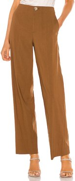 High Waist Straight Leg Pant in Brown. - size 0 (also in 2,4,8)