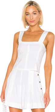 Cropped Wide Strap Top in White. - size 2 (also in 0,8)