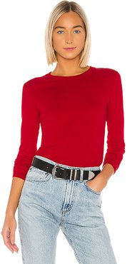Essential Long Sleeve Crew in Red. - size M (also in S,XS)