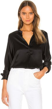 Band Collar Blouse in Black. - size XXS (also in L,S,XS)