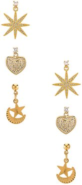 The Starlover Earring Set in Metallic Gold.