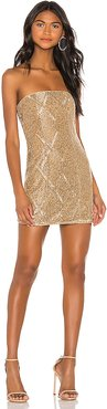 Jean Embellished Mini Dress in Metallic Gold. - size XS (also in L,M,S,XL)