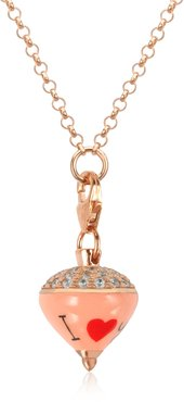 Designer Necklaces, Rose Sterling Silver and Enamel Small Spinning Top Pendant Necklace w/Cubic Zirconia