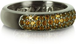 Designer Rings, Yellow Cubic Zirconia and Sterling Silver Ring