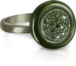 Designer Rings, Olive Green Cubic Zirconia and Sterling Silver Ring