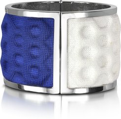 8790 Designer Bracelets, Palladium Plated Brass and White and Blue Viscose Bangle