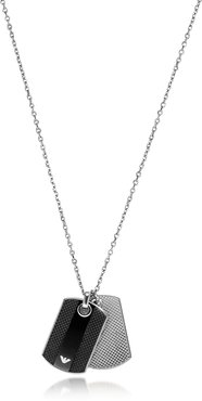 Designer Men's Necklaces, Iconic Black and Silver Stainless Steel Charm Men's Necklace