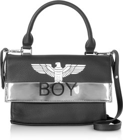 Designer Handbags, Black & Silver Synthetic Leather Top Handle Bag