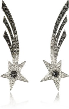 Designer Earrings, Shooting Stars White Gold Earrings w/Diamonds