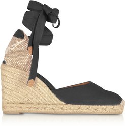 Designer Shoes, Carina Black Canvas Wedge Espadrilles