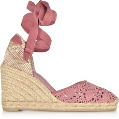 Designer Shoes, Carina Malva Canvas Wedge Espadrilles