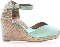 Designer Shoes, Chiarita Aqua Canvas Wedge Espadrilles