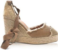 Designer Shoes, Catalina Tan Canvas Wedge Espadrilles