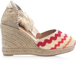 Designer Shoes, Craby Red Canvas Wedge Espadrilles