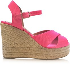 Designer Shoes, Blaudell Fuchsia Canvas Wedge Espadrilles