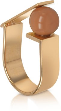 Designer Rings, Arlequin Golden Brass Ring w/Nude Glass Pearl