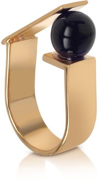 Designer Rings, Arlequin Golden Brass Ring w/Black Glass Pearl