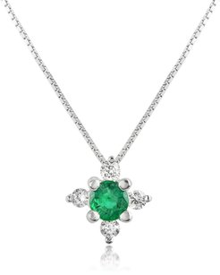 Necklaces Diamond and Emerald Flower 18K Gold Pendant Necklace