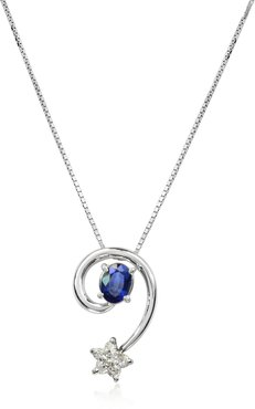 Designer Necklaces, Sapphires and Diamond Star 18K Gold Pendant Necklace