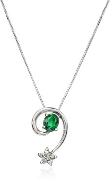 Designer Necklaces, Emerald and Diamond Star 18K Gold Pendant Necklace